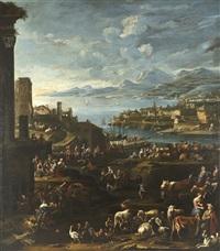 mercato con veduta di genova dai colli di albaro by pietro maurizio bolckman
