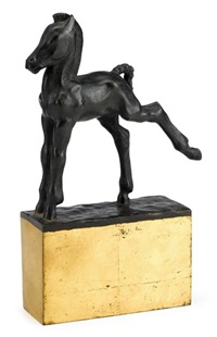 bronze sculpture of a colt by john held