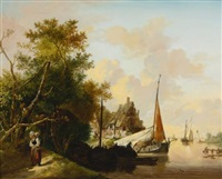peasants unloading cargo and mother and child by a river (pair) by jan van os
