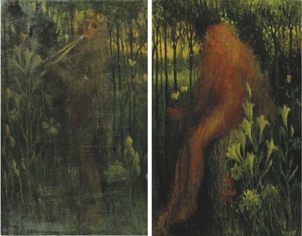 het geluid and de liefde side panels of triptych by henri van daalhoff