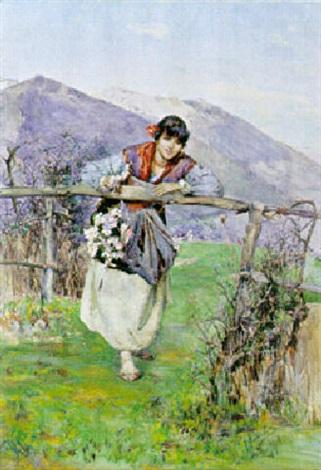 ragazza in costume con fiori appoggiata allo steccato by domenico pennachini