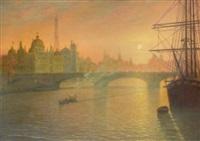 vue de l'exposition universelle de 1900 avec le pavillon italien, paris by jean-joseph enders