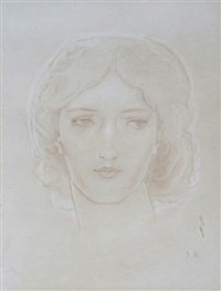 head study of a young lady by john duncan