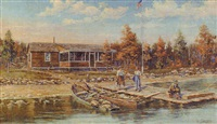 michigan lake camp scene by e. austen