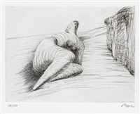 curved reclining figure in landscape ii by henry moore