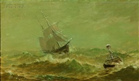 ship on the high seas (+ yacht; 2 works) by william formby halsall
