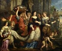 eine festlich geschmückte junge braut (?) wird von hofdamen und amouretten geleitet by jan pieter ykens