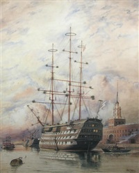 hms victory as a accommodation ship, decorated with holly and mistletoe on christmas day at moorings outside the custom house, portsmouth by william edward atkins