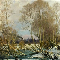 pollards by a stream in winter by harry william adams