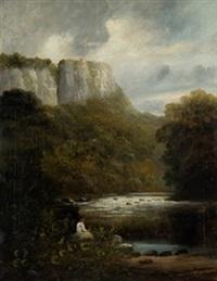 paisaje montañoso con personaje by lluis rigalt farriols