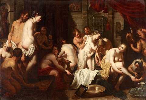 interiör av en badinrättning by sir peter paul rubens