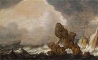 schiffe auf stürmischer see vor einer felsigen küste by pieter mulier the elder
