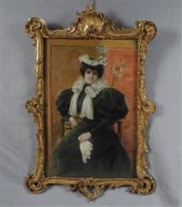 élégante aux gants by leon eugene august abry
