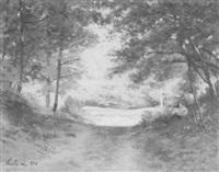 lichtdurchfluteter waldweg mit rastendem wanderer by jules françois archille ambroise