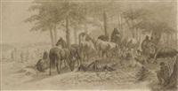 rastende soldaten mit ihre pferden am waldrand by franz adam