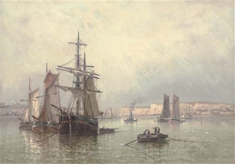 trading brigs drying their sails in a french harbour by l prerette