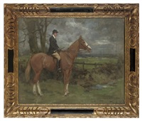 a huntsman on a chestnut horse in an extensive landscape by george denholm armour
