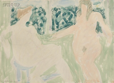two nudes in a green interior by stephen s. pace