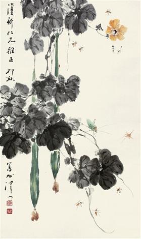 草虫花卉 grasshopper and flowers by xiao lang