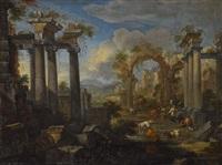 lagernde hirten mit vieh in südlicher ruinenlandschaft by anonymous-italian
