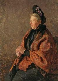 portrait einer sitzenden dame by adolf reich