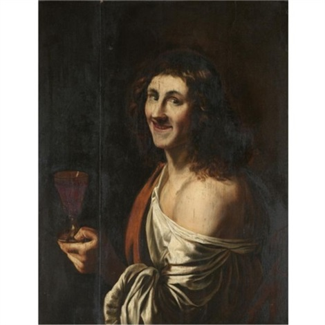 a man holding a glass of wine by christian van couwenbergh