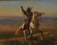scene with a native american warrior on horseback by william de la montagne cary