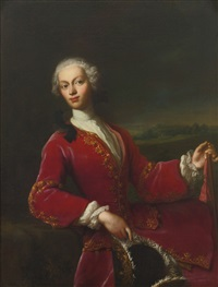 portrait of a young man, three-quarter length, in a red coat by jacopo amigoni