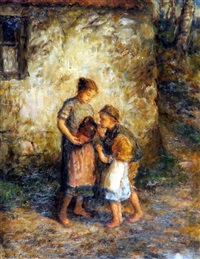 children with a water jug by hugh cameron