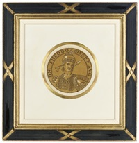 portrait medallions of roman emperors: otho dei gratia rex (+ 3 others; 4 works) by hubert goltzius