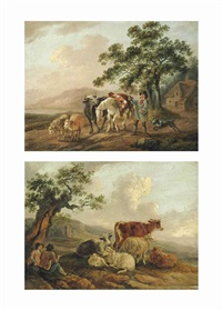 a wooded landscape with a drover and a shepherdess at rest with their cattle...; a wooded landscape with a drover and his cattle with a dog... (pair) by peter la cave