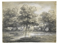 wooded landscape with herdsmen and cattle by thomas gainsborough
