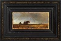 bauer mit pferdepflug, im hintergrund silhouette von münchen by alois bach