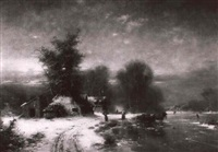 abendstimmung in winterlicher landschaft by günther könig