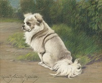 a small white dog in a landscape by rainer zstranffy gabrielle