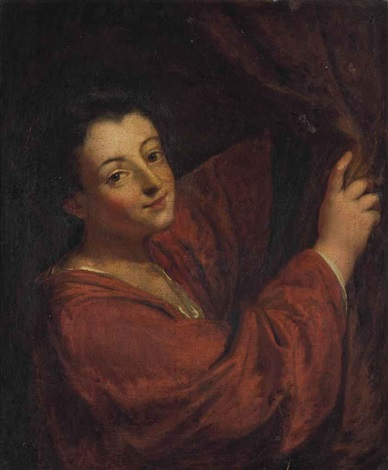 portrait of a woman half length in a red dress holding back a curtain by jean baptiste santerre