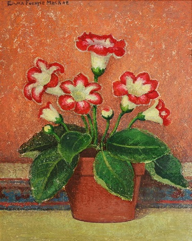 gloxinia with orange background by emma fordyce macrae