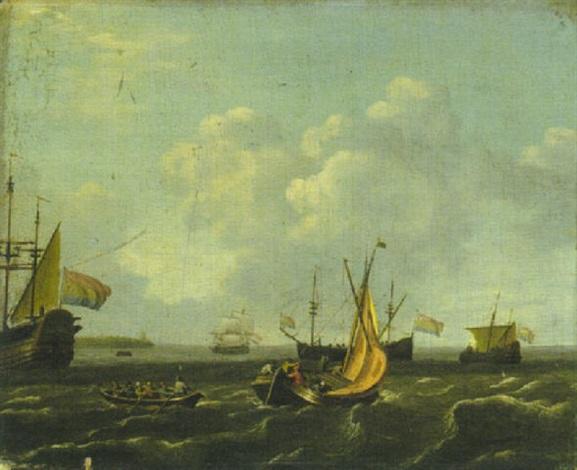 segelboote ruderboot und niederländische dreimaster vor der küste by adam silo