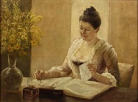 tending to her correspondence by enoch wood perry