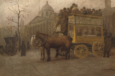 carriages outside the national gallery on trafalgar square london by jacobus cornelis wyand cossaar