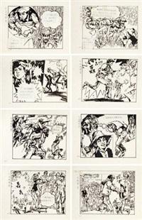 小马戏演员 连环画稿 (八帧) 镜心 纸本 (8 works) by han wu and huang yinghao