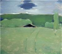 black roof in a verdant landscape by h. (einar reuter) ahtela