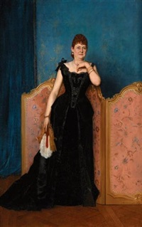 portrait d'une élégante en tenue de bal by auguste toulmouche