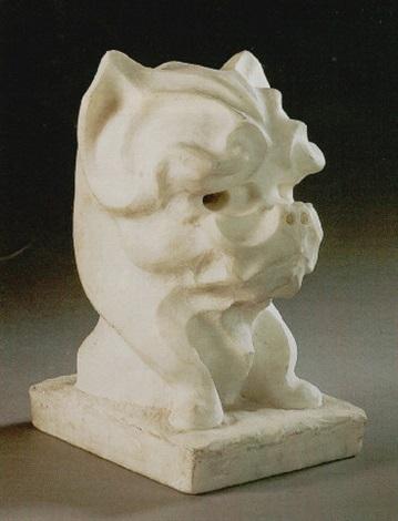 a bust of a terrier by eugène comte d astanières