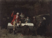 männergesellschaft in einem wirtshaus by frederick william davis