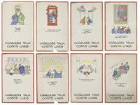 careless talk costs lives (set of 8) by fougasse (cyril kenneth bird)