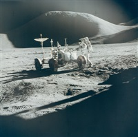portrait of james irwin and the rover in front of mount hadley, eva 1, apollo 15, august 1971 by david scott