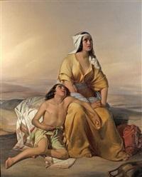 hagar und ismail in der wüste by eduard steinbruck