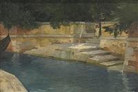 giardino publico venedig. kanal mit anlegeplatz im schatten by hermann göhler