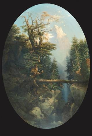 paesaggio alpestre con canalone e cacciatore appostato su sfondo di cime innevate by massimo dazeglio